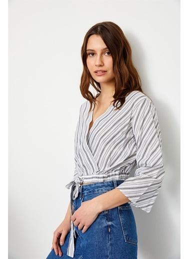 Setre Siyah- Beyaz Şerit Yarım Kol Beli Bağcıklı Pamuk Bluz Siyah